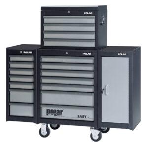 EASY werkzeugwagen mit zwei seiten-schränken und werkzeugkasten (leer)